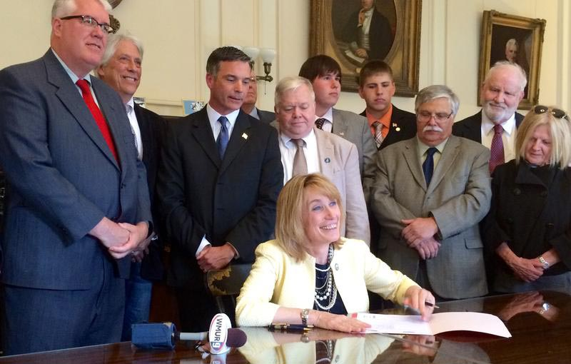 Governor Maggie Hassan Signing SB30, May 20, 2015; Les Otten second from left