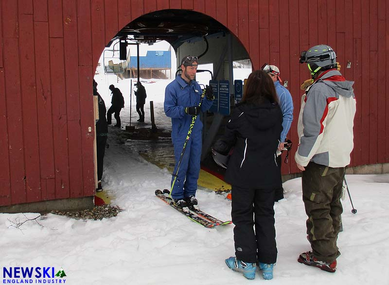 Waterville Valley President Tim Smith greets skiers at Snow's Mountain