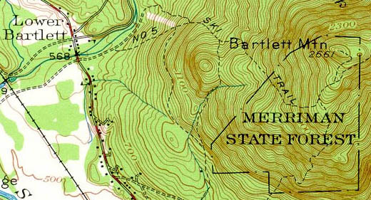 1942 Bartlett Mountain Map