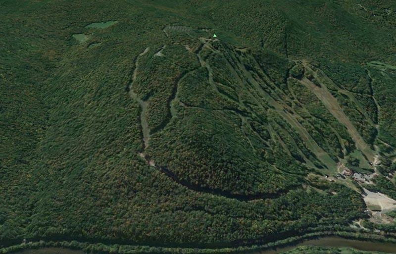 Google Earth rendering of the North Face at Berkshire East