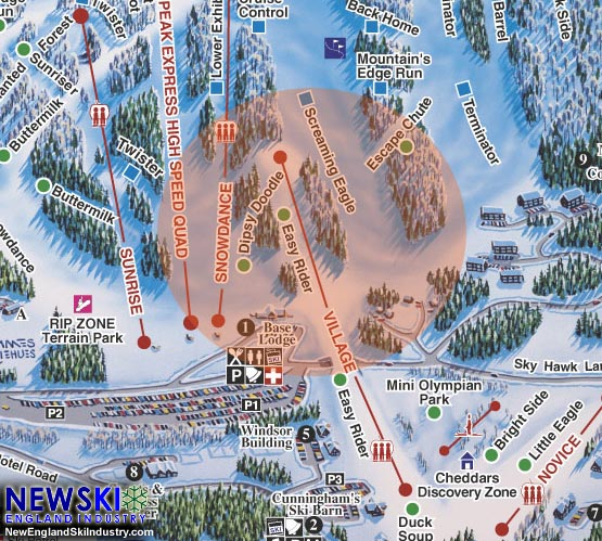 Mt. Ascutney Trail Map with 2015-16 proposed lift served area in orange