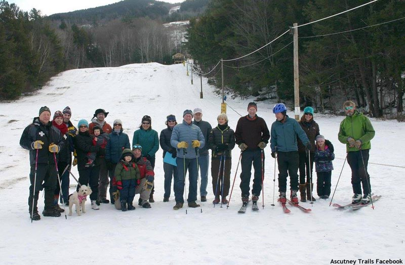 Volunteers in front of the rope tow